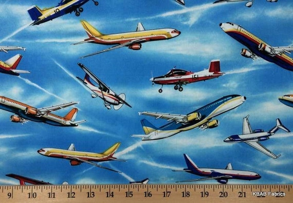 Items similar to airplane fabric by the yard half fat for Airplane fabric by the yard