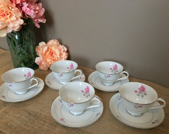 Vintage Maxine by Wyndham fine china, tea cups and saucers, 5 person set, Japan. ,pink floral, Dinnerware