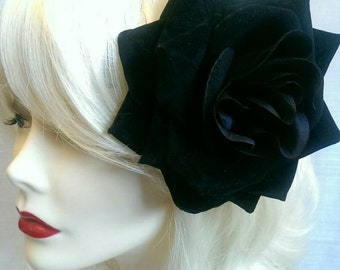 Black  XL velvet rose hair clip