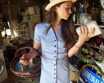 Justine Dress/ Blue floral print dress/ Short sleeves dress/ Cotton dress/