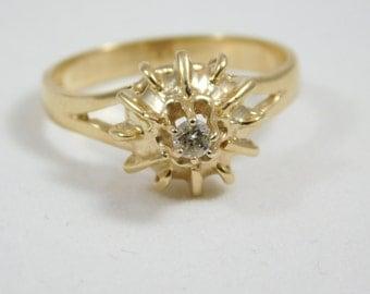 10kt Yellow Gold Starburst Ring w/ .03ct Diamond