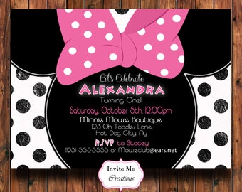 minnie mouse birthday invitation  etsy, invitation samples