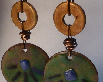 Tribal Enamled Copper Disc Earrings