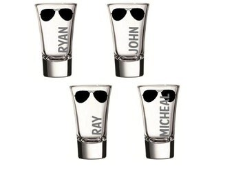 Bachelor Party Sunglasses Shot Glasses, Custom Groomsmen Party Shot Glasses, Shot Glass