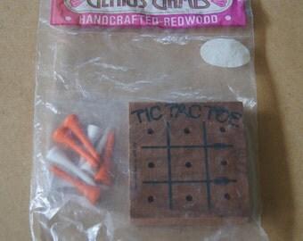 Vintage 1970's - NIP genius games handcrafted redwood tic tac toe - unopened table game