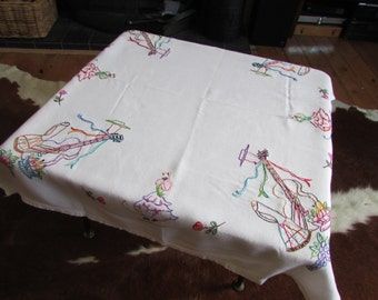 Vintage embroidered Spanish guitar & flamenco dancers tablecloth