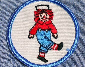 "Vintage Rare! 1960's ''Raggedy Andy"" Embroidered Sew-on Patch 3''"