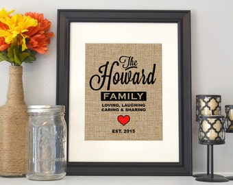 Burlap Family Sign - Burlap Personalized Print