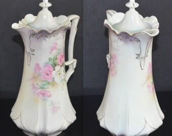 RS Prussia German Porcelain Chocolate Pot Lavender Satin Finish Floral Decor Antique Prussia Mold 551 Art Nouveau Period