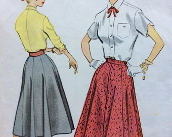 McCall's 9448 misses full skirt waist 26 vintage 1950's sewing pattern