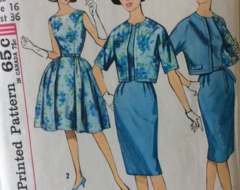 Simplicity 4360 vintage 1960's misses dress & jacket sewing pattern size 16 bust 36  Simple to Make