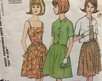McCall's 7770 vintage 1960's misses sundress & jacket proportioned sewing pattern size 12 bust 32