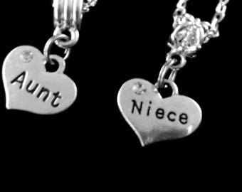 Aunt and Niece charms set  aunt and niece charms  2 charms  aunt charm  niece charm niece gift aunt gift aunt jewelry niece jewelry