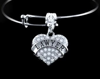 Lawyer Bracelet Legal Bracelet Crystal Heart Lawyer charm bracelet Lawyer Jewelry