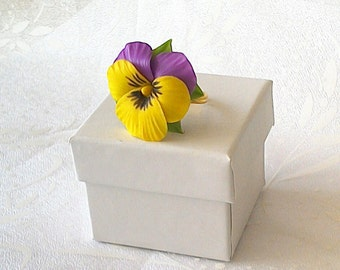 Pansy ring -Floral jewelry - Porcelain flowers - Clay flowers