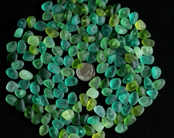 center drilled sea beach glass 20 pcs lot green lime teal turquoise aqua jewelry use
