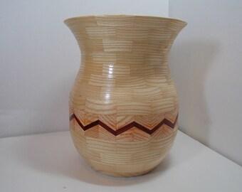 Large opening Vase - Ash padauk accent (item VSASH150011)