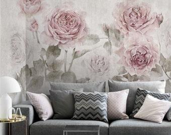 Misty Watercolor Rose Wallpaper Vintage Fresh Smokey Flower Wall Mural Art  Ivory Cream Beige Pink Grey Part 29
