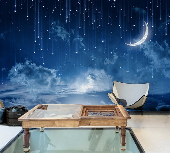 3d Wallpaper Mural Night Clouds Star Sky Wall Paper: Moon Sky Removable Wallpaper Mysterious Moonlit Self-Adhesive