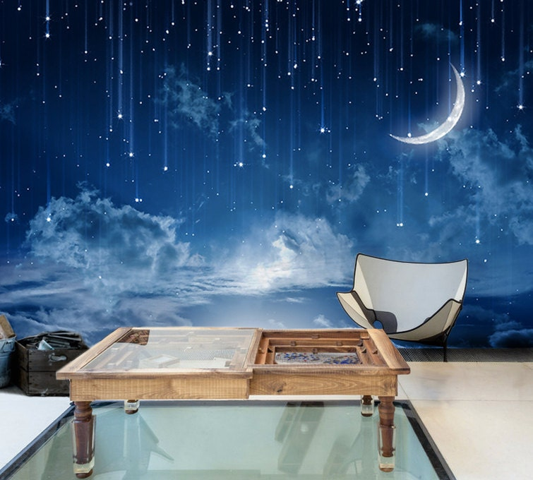 Moon sky removable wallpaper mysterious moonlit self adhesive for Blue moon mural