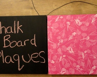 Chalkboard/Wall Art Hanging Wooden Wall Plaques - Pink Floral