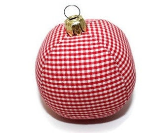 Christmas ball gingham red white stitched ball bauble 6 cm unbreakable checkered
