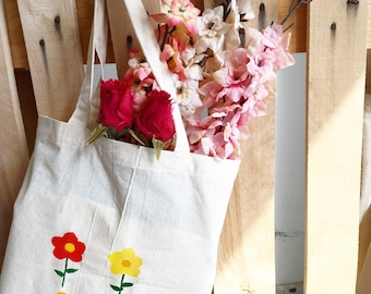 Handpainted Cotton Tote Bag Spring Flowers Design