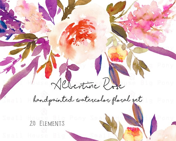 Digital Clipart- Watercolor Flower Clipart, rose Clip art, Floral Bouquet Clipart, wedding flowers clip art- Albertine Rose