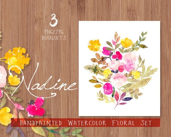 Digital Clipart- Watercolor Flower Clipart, flower Clip art, Floral Bouquet Clipart, wedding flowers clip art, - Nadine Bouquets