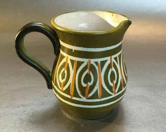 "3.5"" signed Italian Avocado Green Pottery Pitcher Vintage MCM Italy Jug"
