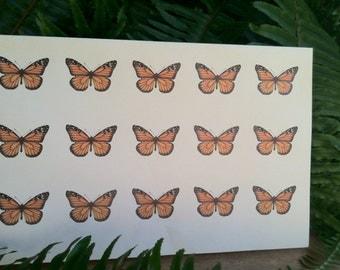 30 Monarch Butterfly Stickers
