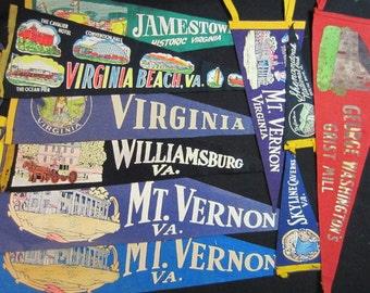 Vintage Travel Pennants - Virginia - Mount Vernon, Williamsburg, Skyline Caverns, Shenandoah, Jamestown, Virginia Beach