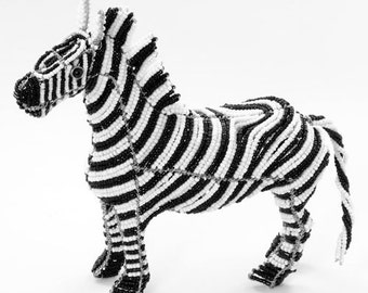 African Fair Trade Beaded Zebra - Wireworx wire and glass beaded animal
