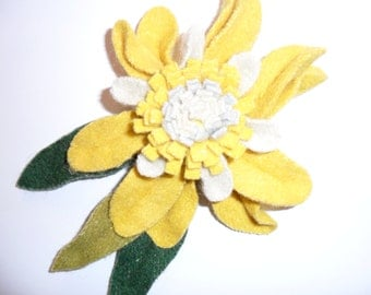Felt Flower Pin done in Yellow with Green leaves
