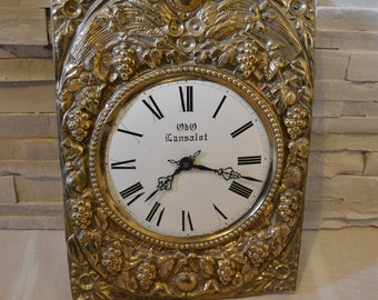 Vintage french copper Clock comtoise front of clock with  part of the mechanism cottage chic farmehouse