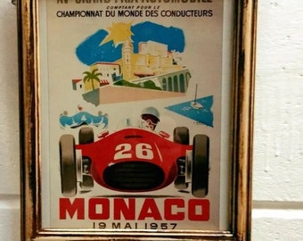 Monaco 1957 Grand Prix vintage framed racing car print