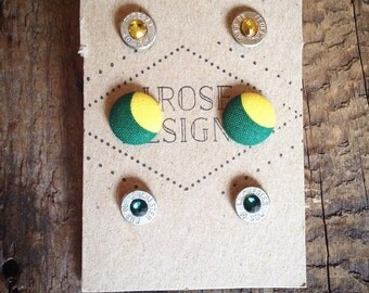 NDSU Bison Button/Bullet Earrings Set