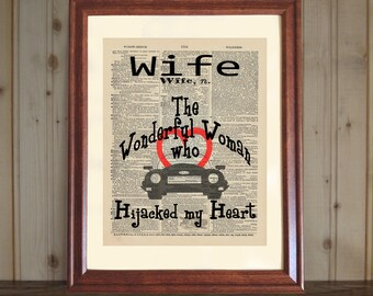 Wife Dictionary Print, Gift for Wife, Witty Wife Quote, Valentine Gift, Anniversary Gift for Wife, Wife Print on 5x7 or 8x10 canvas panel
