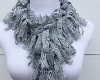 Grey Fringe Scarf, Lace Scarf, Gray Boa Scarf, Summer Scarf, Loopy Scarf, women accessory, fringe scarf, girly girl scarf, frou frou scarf