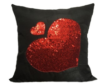 Red Hearts Sequins Pillow Cover Black Red Sequins Pillow Pillow with Red Hearts Red Black Heart Shams Red Hearts Accent Pillow