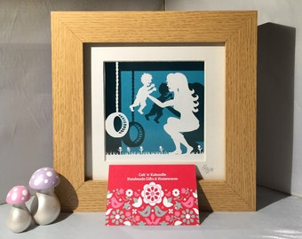 Mummy and me Framed Papercut