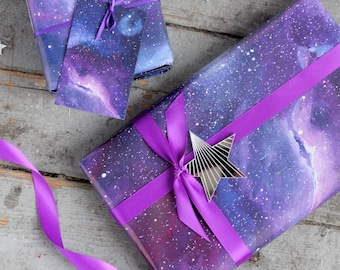 Galaxy Print Wrapping Paper - Space Gift Wrap - Constellation Wrapping Paper - Gift for Scientists - Christmas Gift Wrap - Galaxy Paper