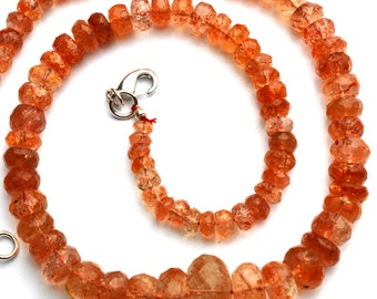"""Natural Gemstone Glittering Sunstone 5 to 14MM Faceted Rondelle Beads 16"""" Full Strand Finished Necklace Super Fine Quality"""