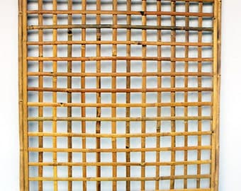 "Framed Bamboo Lattice Panel, square pattern opening, 48""W x 72""H (Set of 2)"