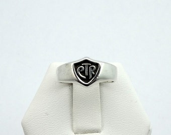 Vintage Solid Sterling Silver CTR Shield Ring #CTRSB99-L