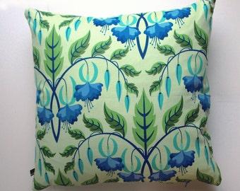 Flower Pillow, cushion cover, 50 x 50 cm, lightblue, lightgreen, green, blue