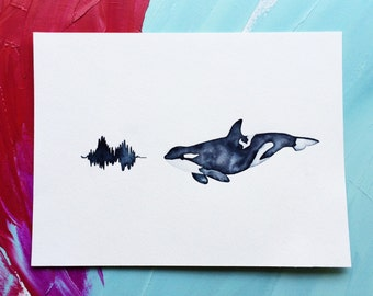 Orca Whale Print of Original Watercolor Painting