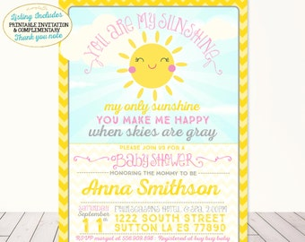 You Are My Sunshine Baby Shower Invitation Sunshine Baby Shower Invitation A Little Sunshine Baby Shower Party Yellow Pink Grey Chevron