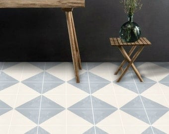 Vinyl Floor Tile Sticker - Floor decals - Carreaux Ciment Encaustic Oslo Tile Sticker Pack in Grey & Bone