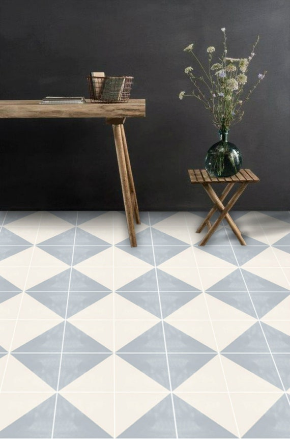 vinyl floor tile sticker floor decals carreaux ciment encaustic oslo tile sticker pack in. Black Bedroom Furniture Sets. Home Design Ideas